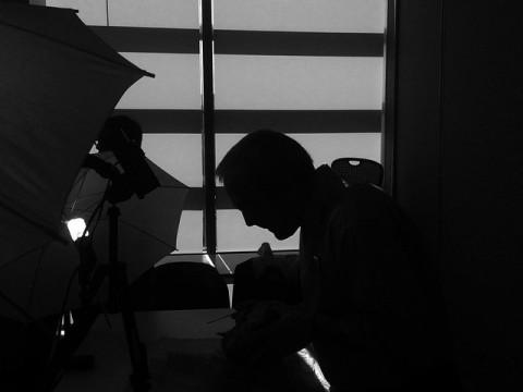 prof. L.E. White getting ready to record a brain video