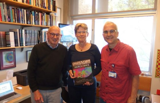 prof purves, me holding the sixth edition of the textbook and prof white