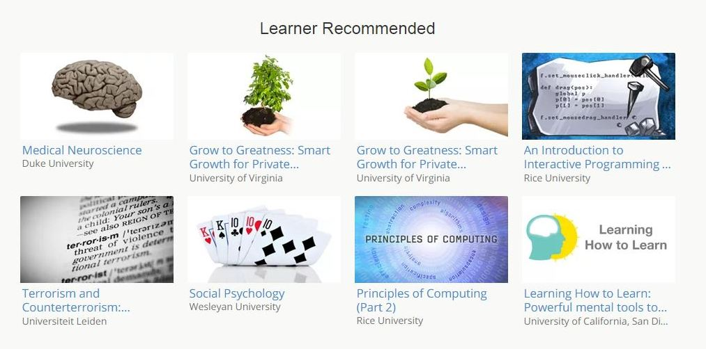 Learner Recommended courses on Coursera