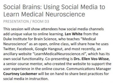 pitch of the presentation social brains using sociak media to learn medical neuroscience