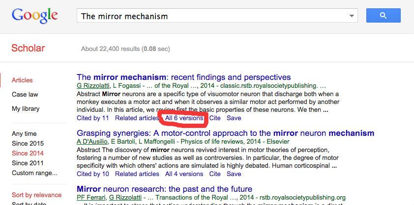 List of neuroscientific articles presented in Google Scholar
